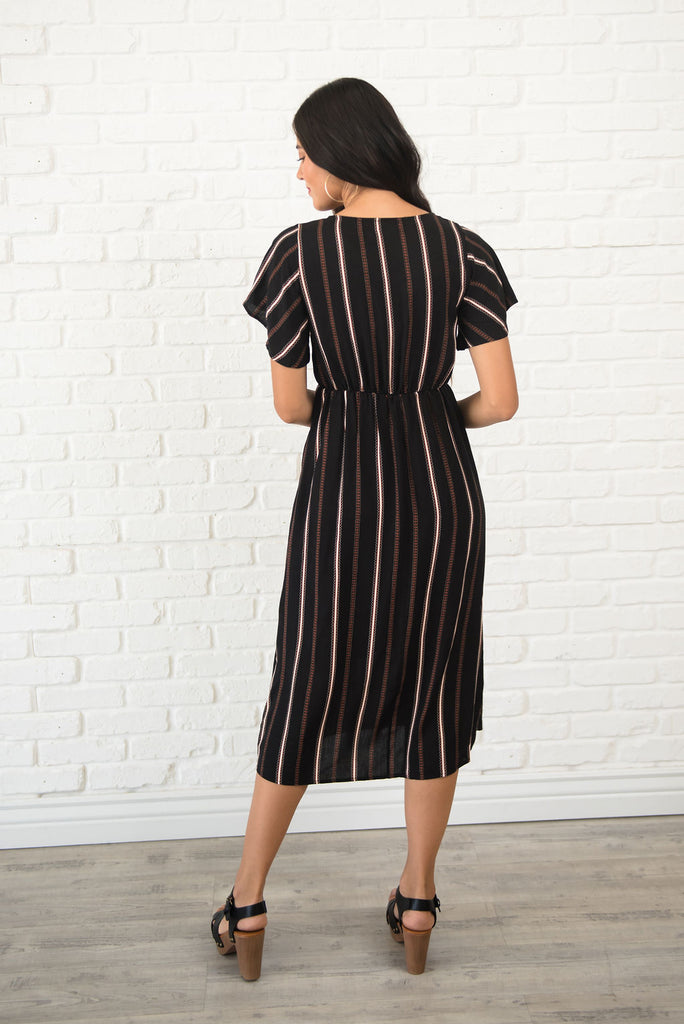 KENNEDY MIDI DRESS WITH FRONT-TIE IN BLACK
