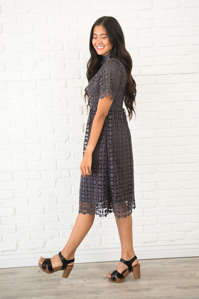 VALERIE MIDI  LACE DRESS IN CHARCOAL GREY
