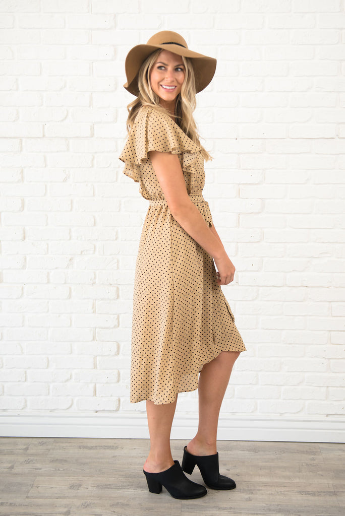 DEBBIE MIDI DRESS IN MOCHA POLKA DOT WITH WAIST TIE