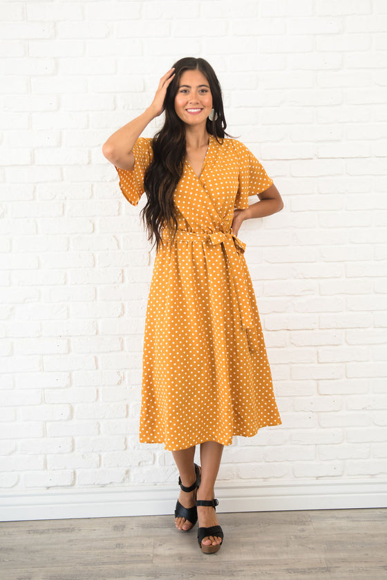 ALYSSA MIDI DRESS IN MUSTARD WITH WHITE POLKA DOTS