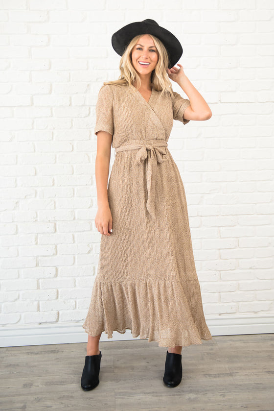 ARIANA MAXI DRESS IN TAUPE AND FLORAL DESIGN