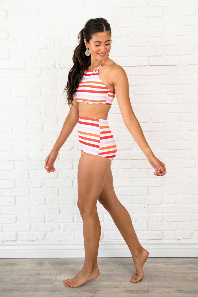 SORBET STRIPED HALTER TOP