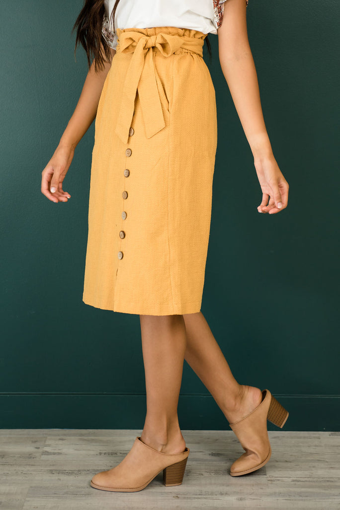 HAZEL MIDI SKIRT IN MUSTARD