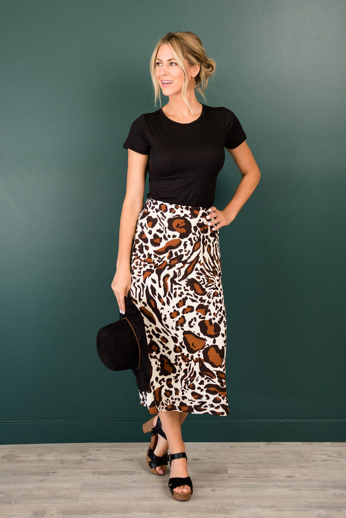 TONYA LEOPARD PRINT SKIRT IN BROWN