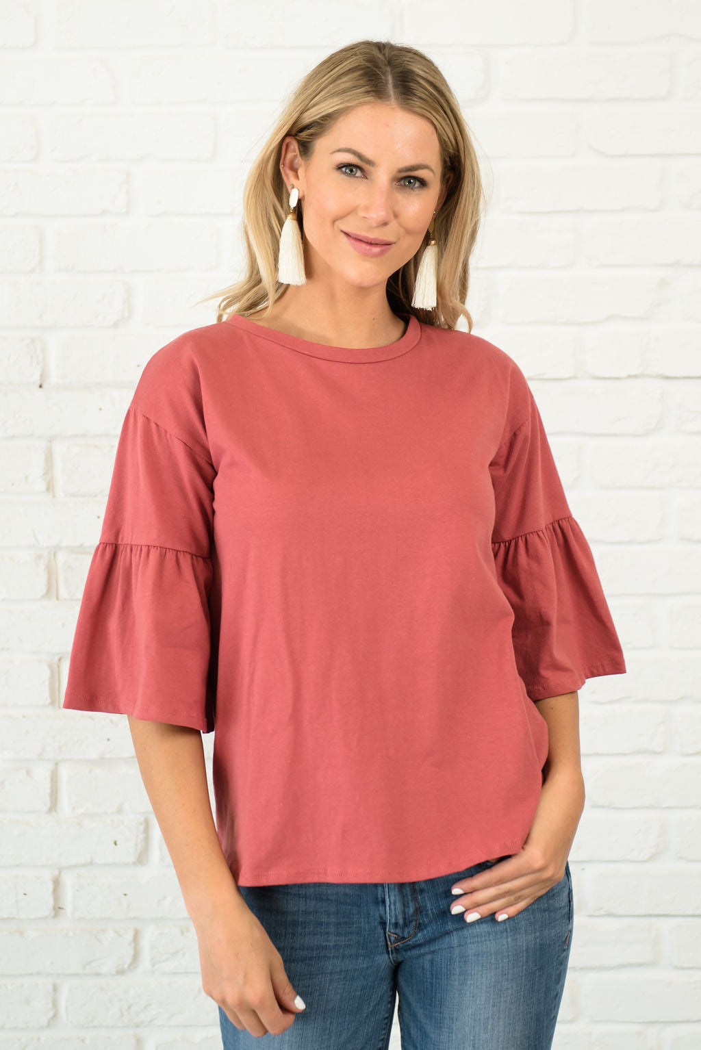 BAILEY TOP IN MARSALA WITH 3/4 LENGTH SLEEVES