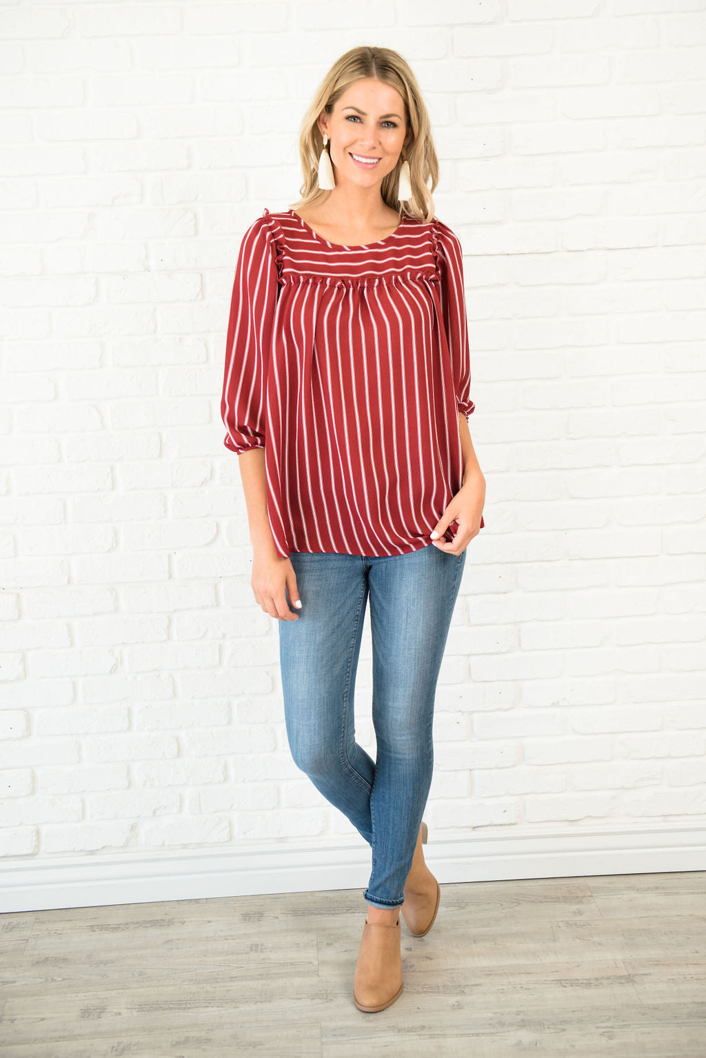MEG SWING TOP IN BURGUNDY