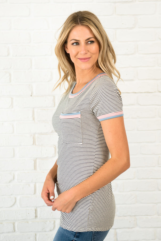 RYLEE TOP IN BLACK AND WHITE STRIPES WITH PASTEL TRIM