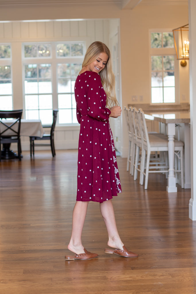 CARINA DRESS IN WINE