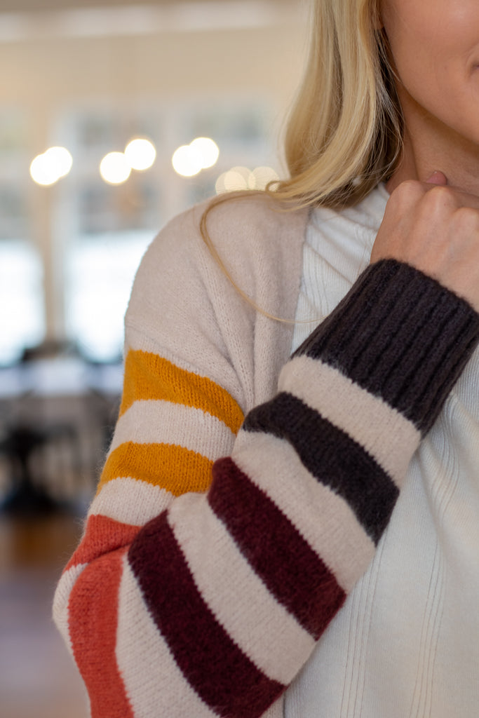 KAMBRIELLA OATMEAL CARDIGAN WITH STRIPE DETAIL