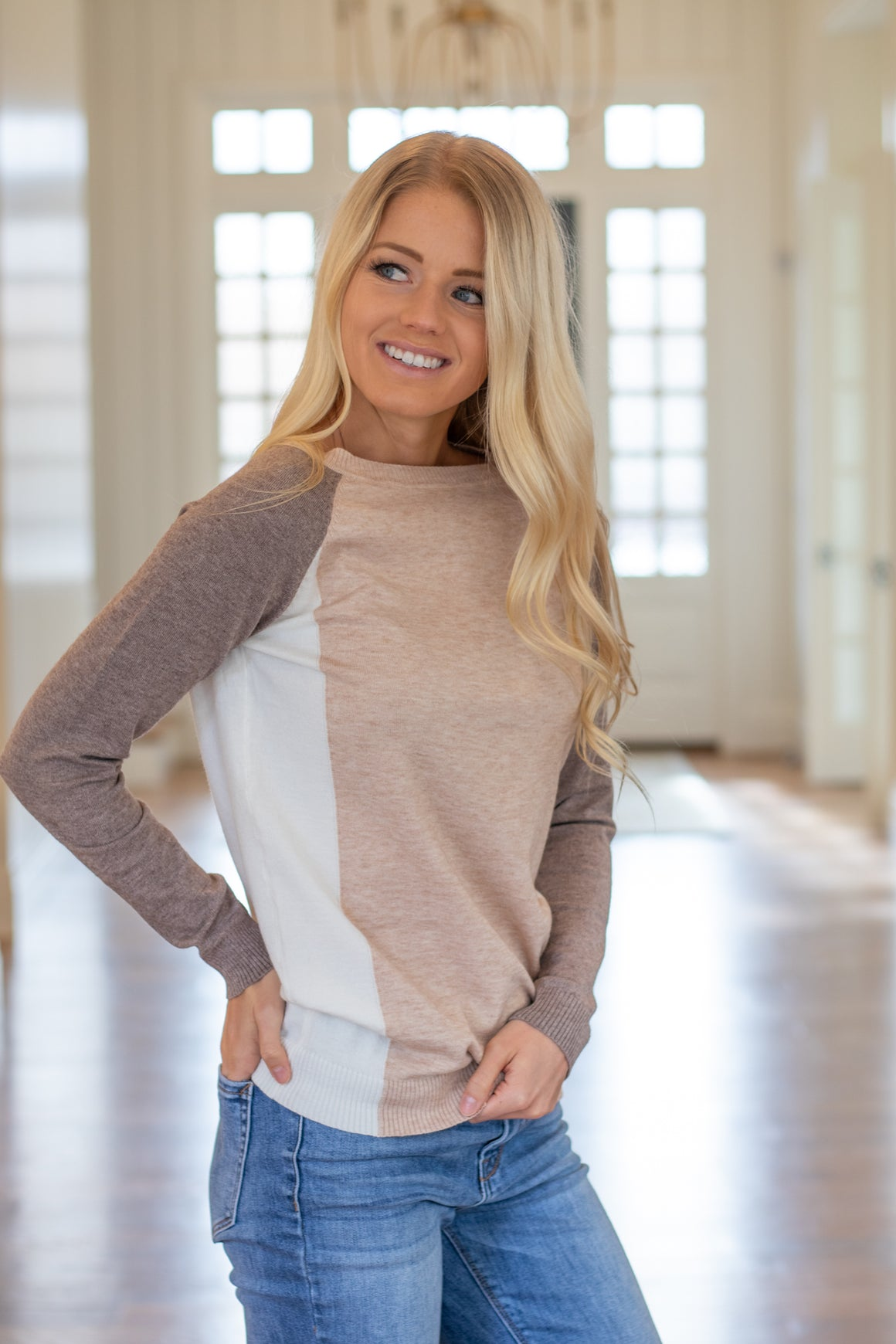 KESSLYN COLOR BLOCK SWEATER