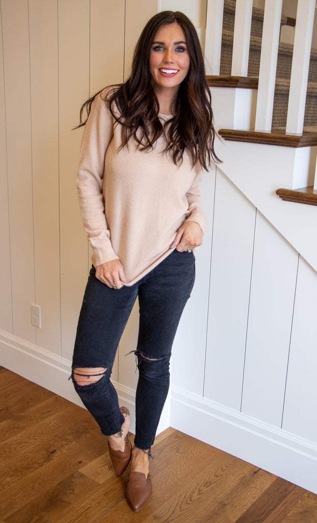 EMMA CREW NECK SWEATER IN BLUSH