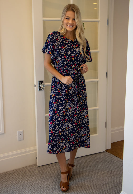 LILY DRESS IN NAVY