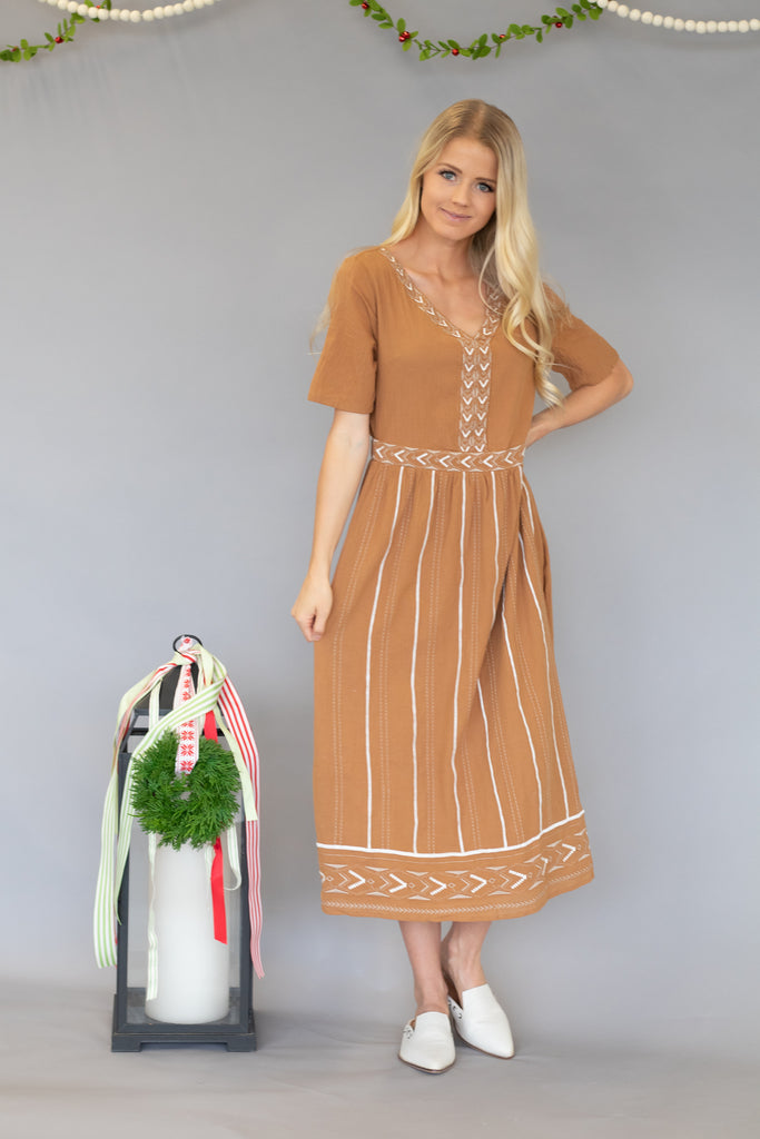 HUDSON COTTON MIDI DRESS IN CAMEL