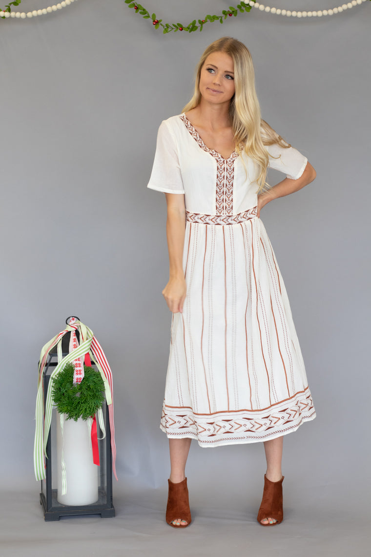 HUDSON COTTON MIDI DRESS IN IVORY