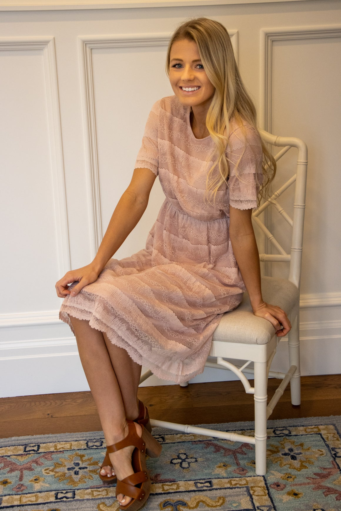 MILA MIDI LACE DRESS IN DUSTY ROSE