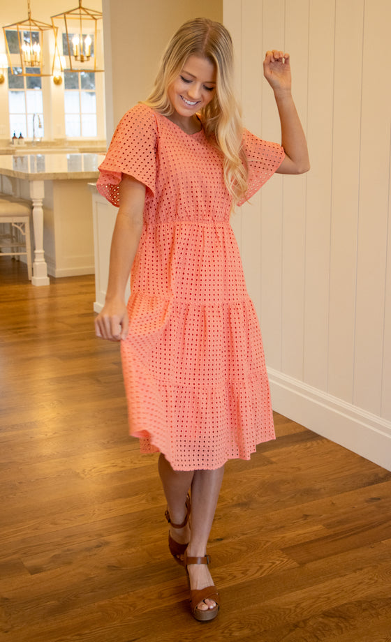 ADELAIDE MIDI EYELET DRESS IN CORAL
