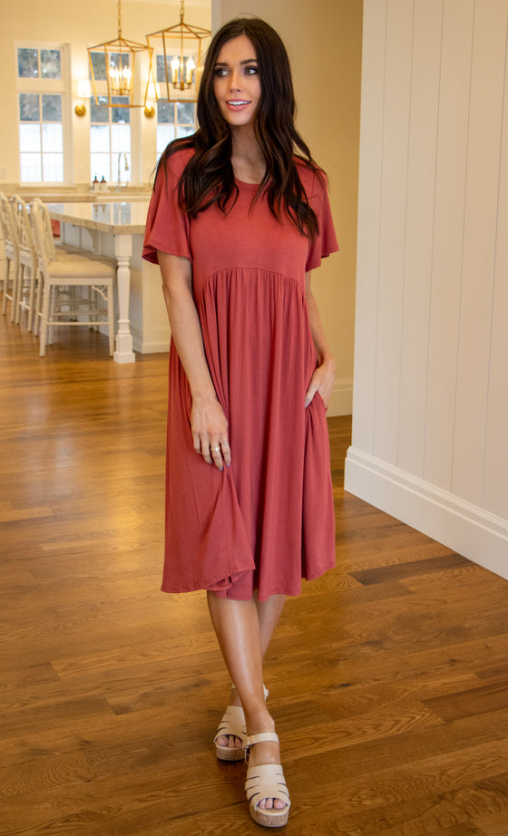 LUCY MIDI DRESS IN MAUVE