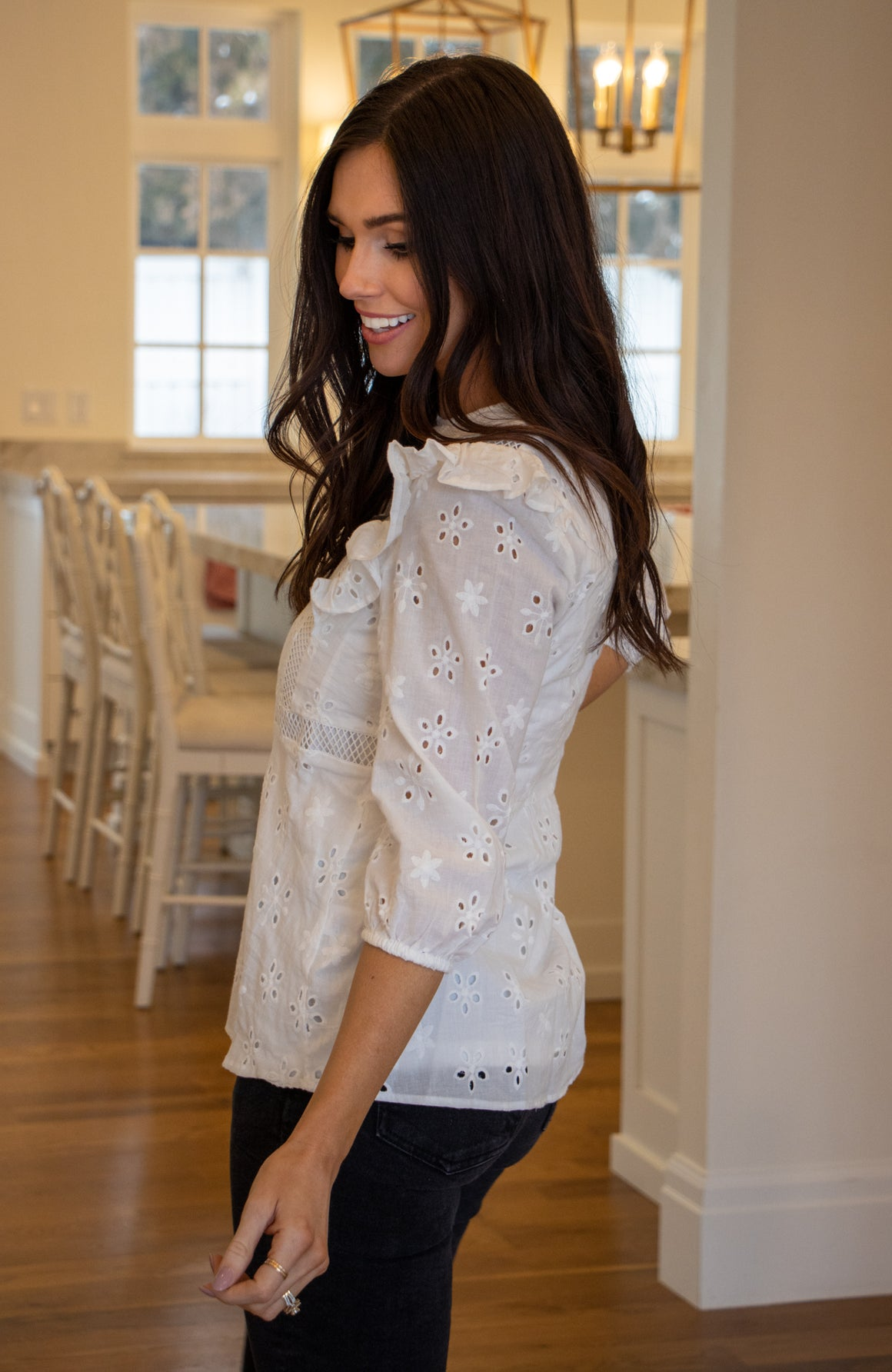 GRACIE EYELET TOP IN WHITE