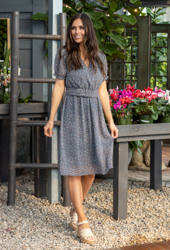 MCKENNA DRESS IN STEEL BLUE