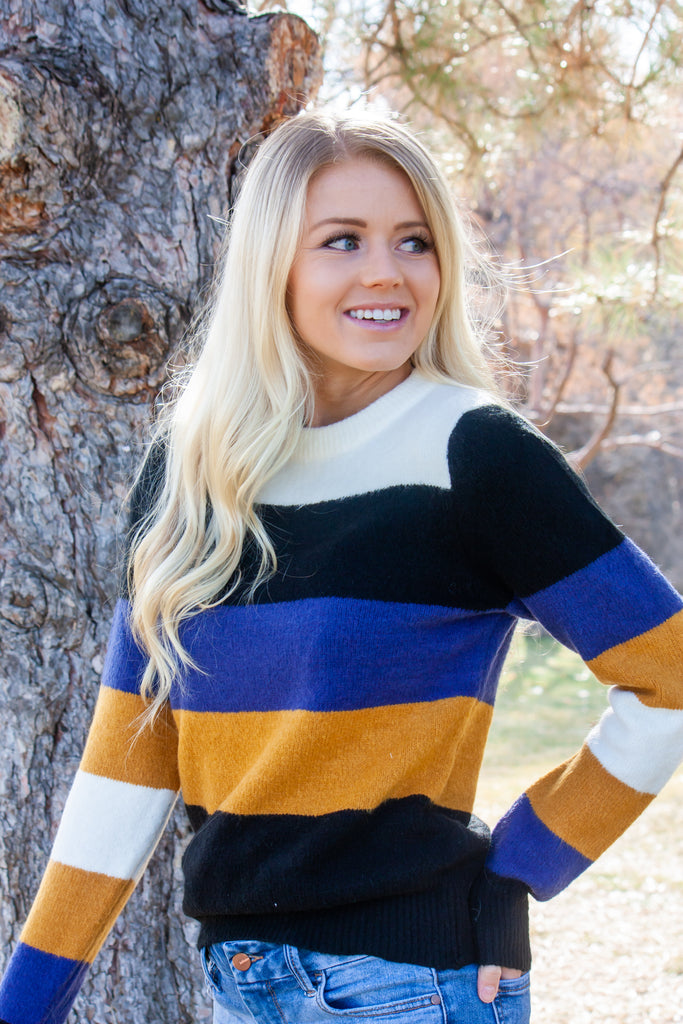 JANA-BLOCK SWEATAER IN MUSTARD, IVORY, BLACK, AND BLUE STRIPES