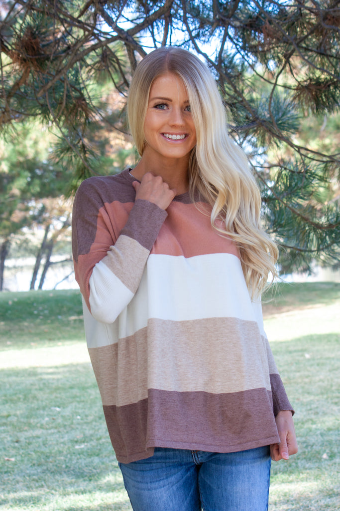 DARLA-STRIPED SWEATER IN MAUVE,NUTMEG,BEIGE,AND IVORY
