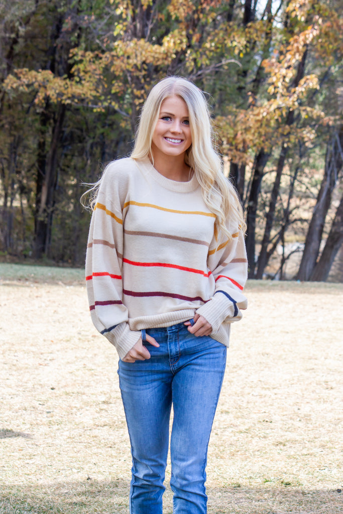 TINA-OATMEAL SWEATER WITH MULTI COLOR THIN HORIZONTAL STRIPES