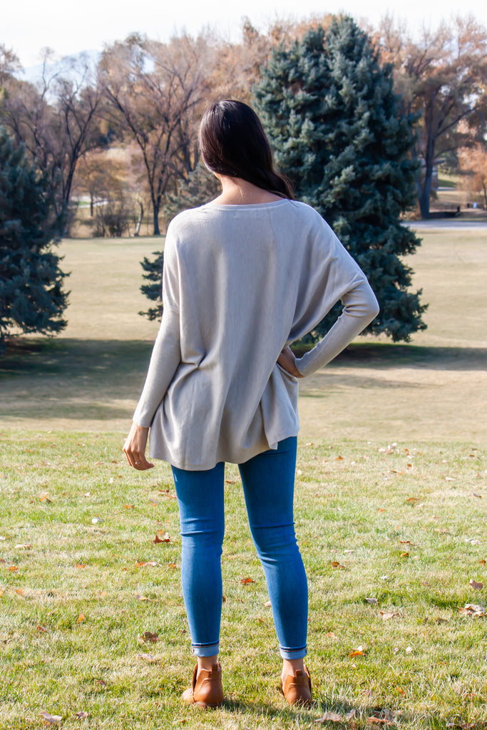 MAREN OVER-SIZED SWEATER IN WARM GREY