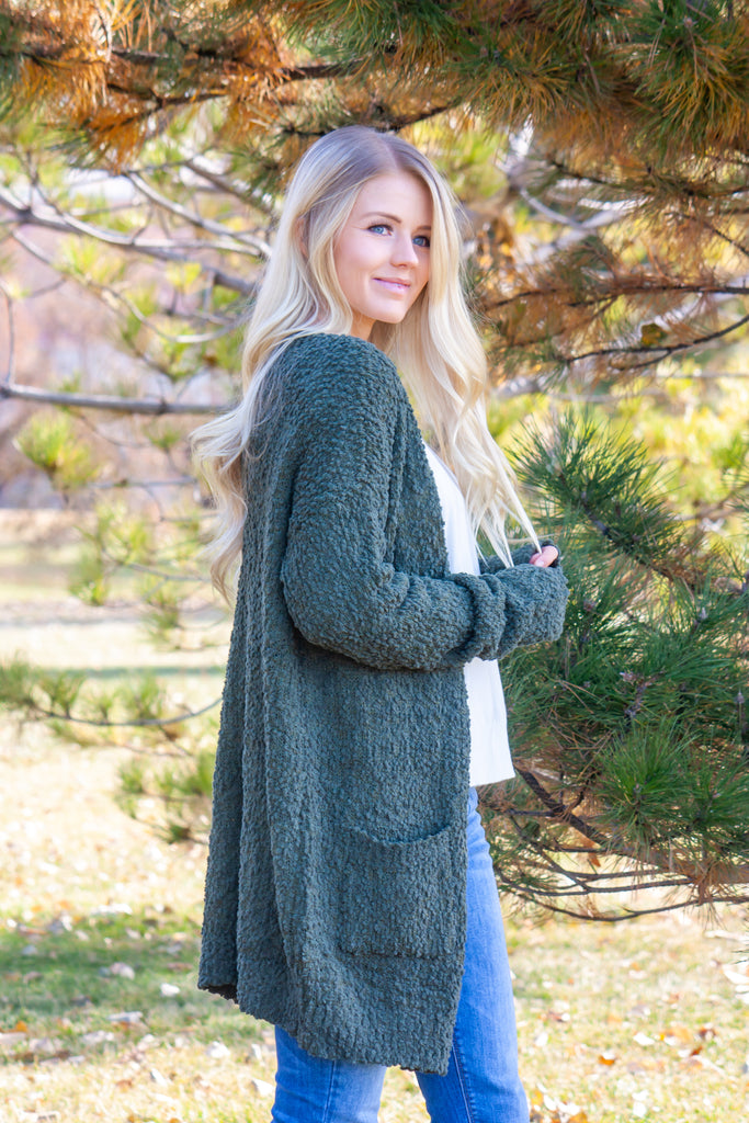 TILLY-OLIVE CARDIGAN SWEATER