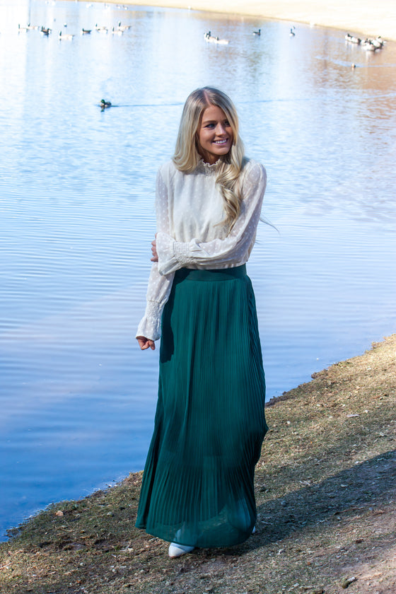 FOREST-DEEP GREEN PLEATED SKIRT