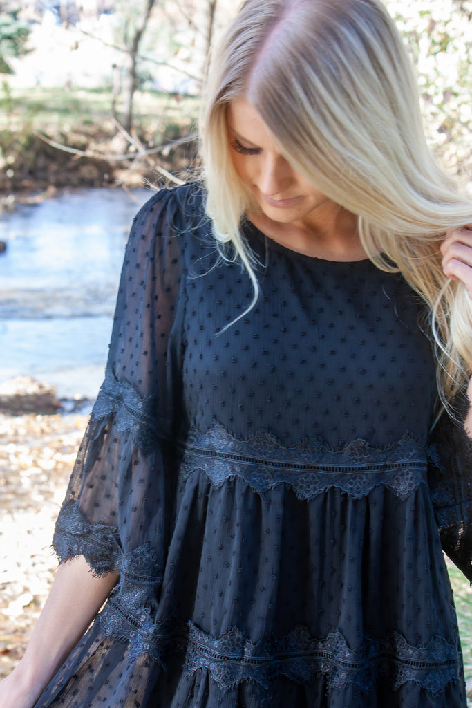 EVA LACE AND SWISS DOT BABY DOLL DRESS IN BLACK