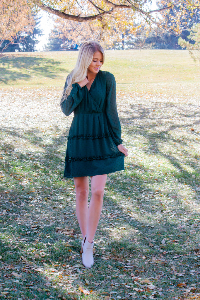 CHARLI MIDI DRESS IN HUNTER GREEN