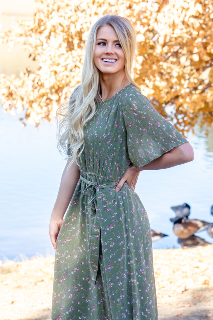 JOANNE MAXI IN OLIVE GREEN WITH FLORAL PRINT