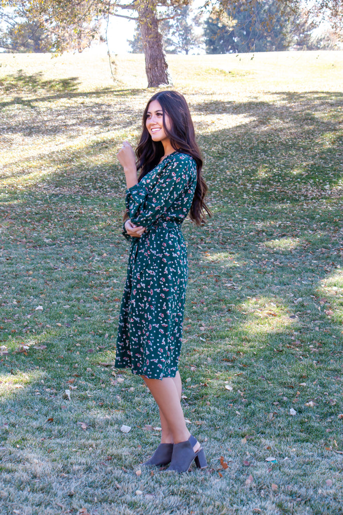 HUNTLEY MIDI DRESS IN HUNTER GREEN WITH FLORAL PATTERN