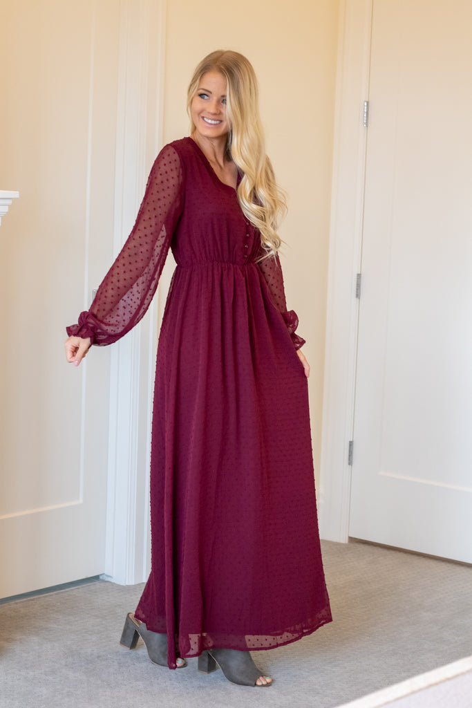 SHELLY MAXI DRESS IN BURGUNDY