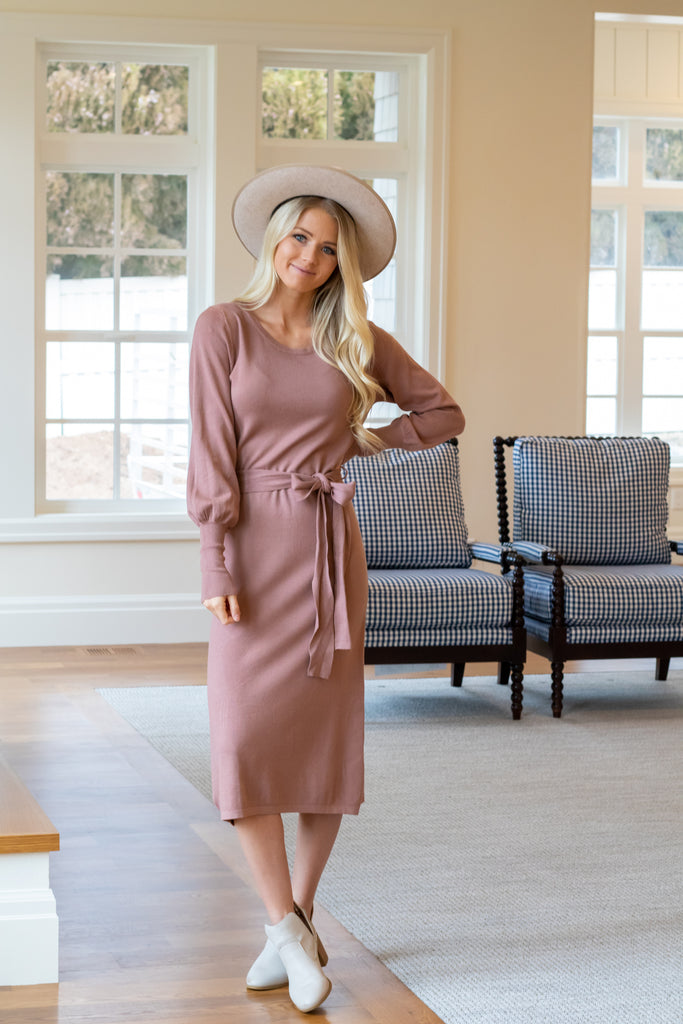 WENDI SWEATER DRESS IN DUSTY ROSE