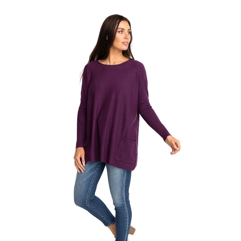 MAREN OVER-SIZED SWEATER IN PLUM