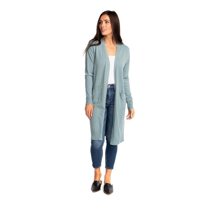 HANNAH-LONG CARDIGAN IN DUSTY BLUE