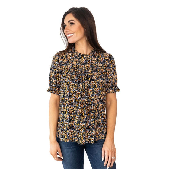 EMMA FLORAL TOP IN YELLOW