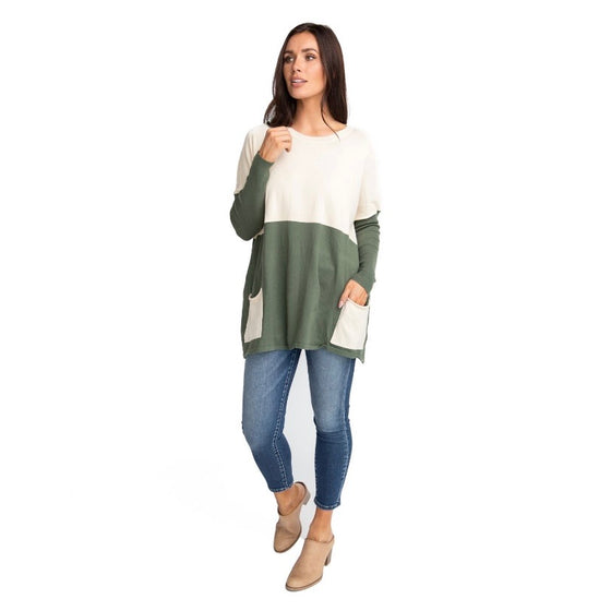 MAREN OVER-SIZED SWEATER IN OLIVE AND IVORY