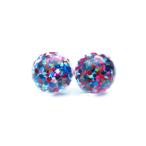 Multi Coloured -Glitter Drop Studs
