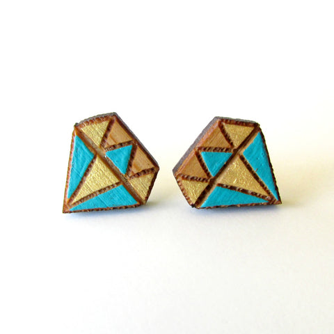 Diamond Gem Bamboo Studs - 2 Colours