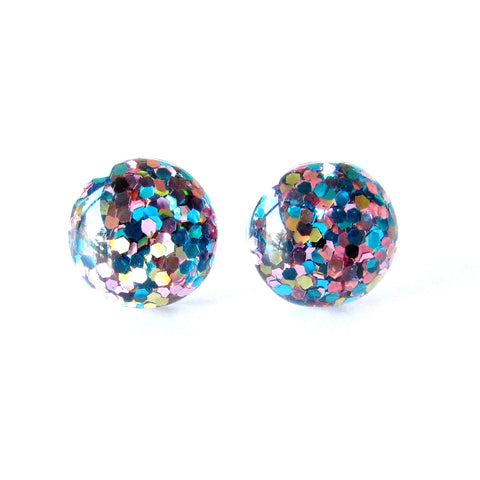 Glitter Drop Studs- Blue,Pink & Gold