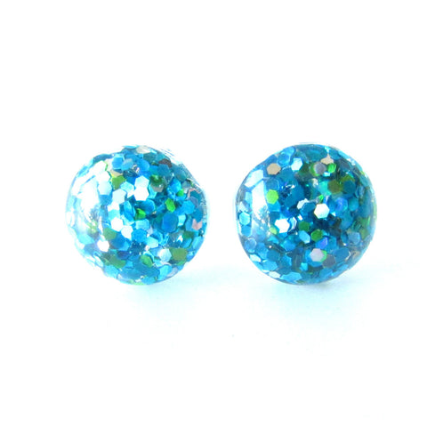 Glitter Drop Studs - Blue , Green & Silver