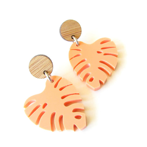 Mini Monstera Dangles - Peach