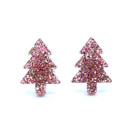 Rose Gold Christmas Tree Studs
