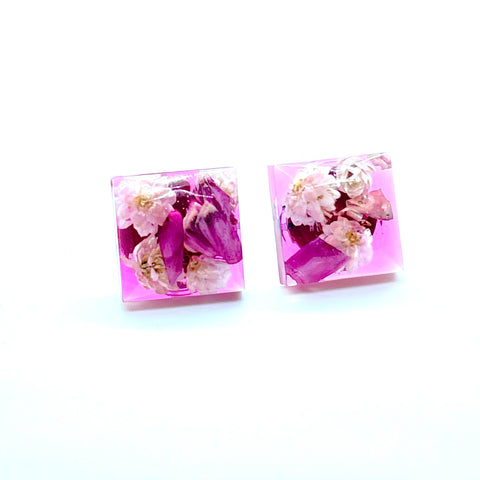 Tinted pink floral square