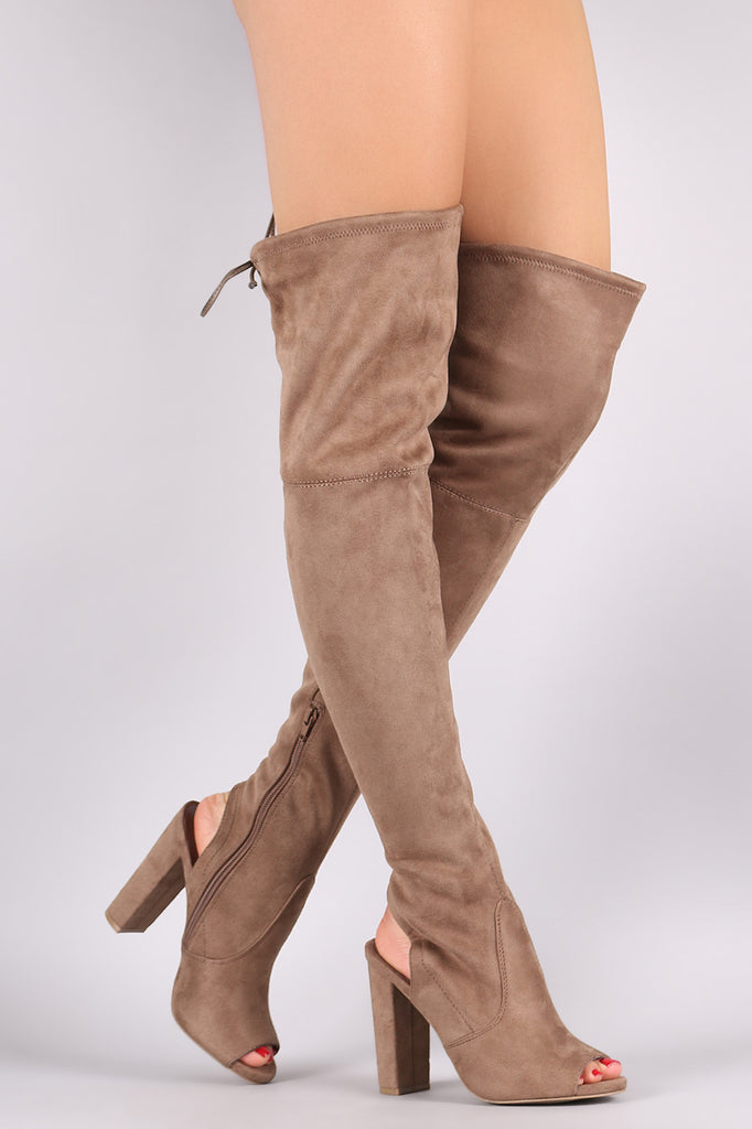 60cc325dda0 ... Wild Diva Lounge Suede Drawstring-Tie Chunky Heeled Over-The-Knee Boots  ...