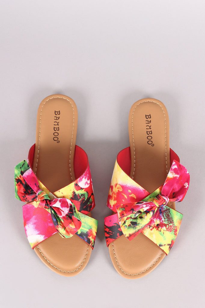 890381bf12f Bamboo Floral Satin Crisscross Bow Slide Sandal – fashion-12128