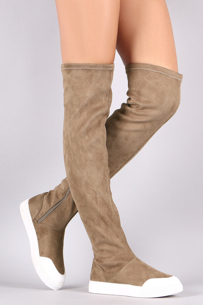 a17d7379062 Wild Diva Lounge Suede Over-The-Knee Sneaker Boots – fashion-12128