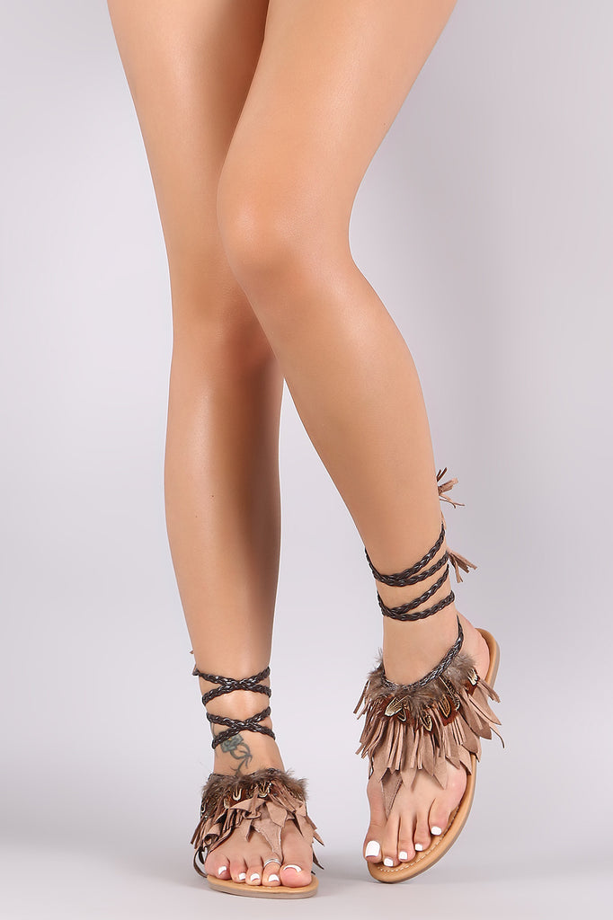 45eb0dcedb4 ... Qupid Suede Fringe Feather Accent Lace Up Thong Flat Sandal ...